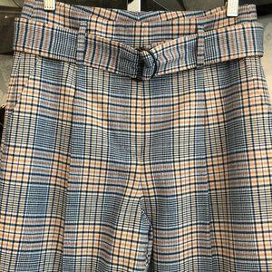 AKRIS PUNTO Blue & Orange Plaid Wool Blend Pant